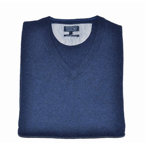 V-Neck Pullover aus Lambswool in Navy-Blau 3XL
