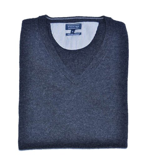 V- Neck Lambswool-Pullover in Anthrazit