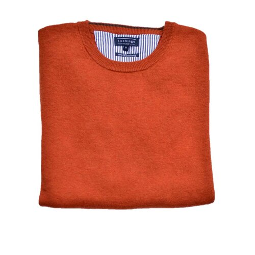 O-Neck Lambswool-Pullover/ Rost-Melange