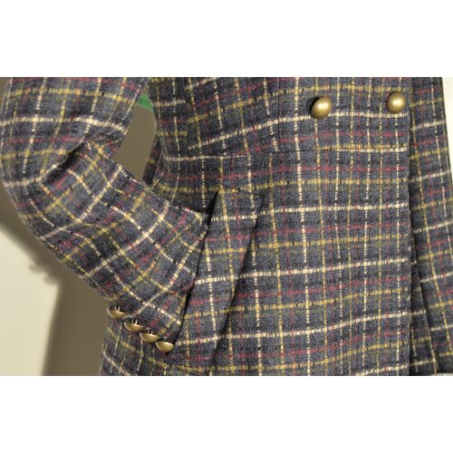 Tweed-Mantel Jutta Navy mit Multi-Color Check