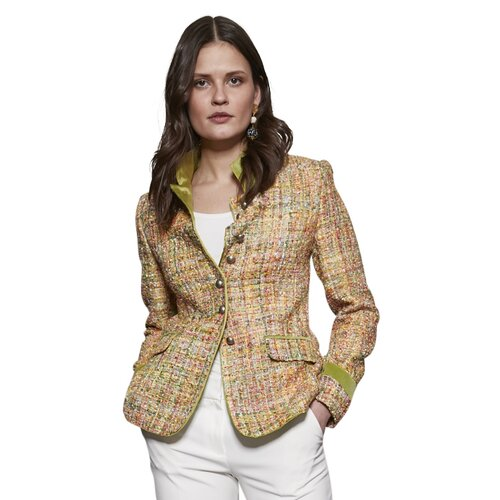 Blazer Louise/ Multicolor-Boucle mit Samtbesatz in Limone