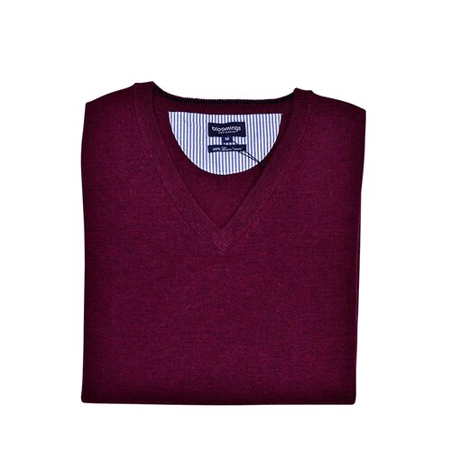 V-Neck Lambswool-Pullover in Bordeaux-Rot