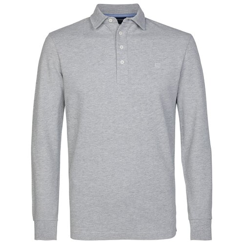 Lang-Arm Polo-Shirt in Hellgrau von Profuomo